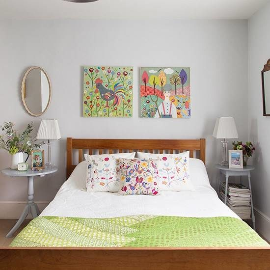 White-bedroom-with-folksy-artworks